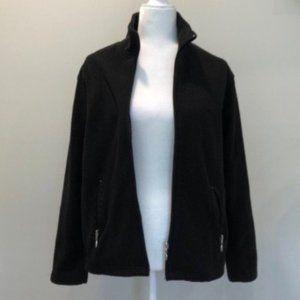 Jane Ashley Black Fleece Zip Up Jscket Medium